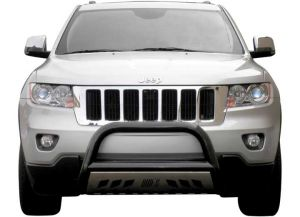 """Aries Automotive 3"""" Bull Bar Carbon Steel With Removable Brushed SS Skid Plate In Semigloss Black For 2011-20 Jeep Grand Cherokee WK2 Models B35-1003"""