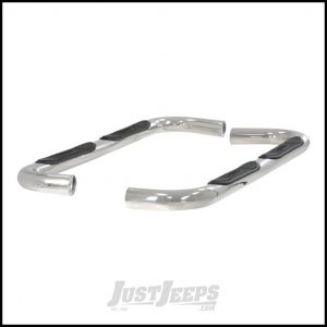 "Aries Automotive 3"" Round Side Bars In Polished Stainless Steel For 1984-01 Jeep Cherokee XJ 201000-2"
