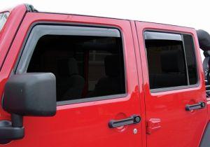 Auto Ventshade In-Channel Ventvisors (4 Piece Kit) In Smoked Black For 2007-18 Jeep Wrangler JK Models 194249
