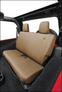 BESTOP Custom Tailored Rear Seat Covers In Tan For 2008-12 Jeep Wrangler JK 2 Door & Unlimited 4 Door Models 29281-04