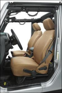 BESTOP Custom Tailored Front Seat Covers In Tan For 2013-18 Jeep Wrangler JK 2 Door & Unlimited 4 Door Models 29283-04