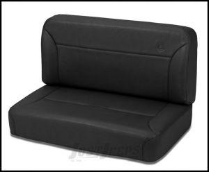 BESTOP TrailMax II Fixed Rear Bench Seat In Black Denim For 1955-95 Jeep Wrangler YJ & CJ Series 39437-15