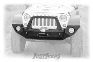 Rock Slide Engineering Rigid Series Front Bumper With Bull Bar & Winch Mount In Textured Black For 2007-18 Jeep Wrangler JK 2 Door & Unlimited 4 Door Models FB-F-100-JK-