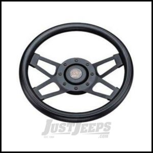 Grant Products Challenger Series Steering Wheel With Black Spokes & Black Cushion Grip For 1946-95 Jeep CJ Series, Wrangler YJ & Cherokee XJ