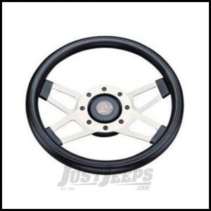 Grant Products Challenger Series Steering Wheel With Silver Spokes & Black Cushion Grip For 1946-95 Jeep CJ Series, Wrangler YJ & Cherokee XJ
