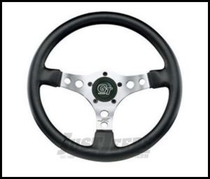 Grant Products Formula GT 3 Spoke Steering Wheel With Satin Aluminum Spokes & Stitched Vinyl Grip For 1946-95 Jeep CJ Series, Wrangler YJ & Cherokee XJ