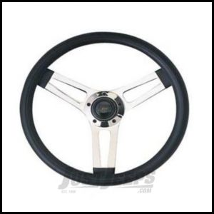 Grant Products Classic Series Steering Wheel With Chrome Spokes & Black Cushion Grip For 1946-95 Jeep CJ Series, Wrangler YJ & Cherokee XJ