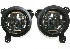 """Iron Cross Automotive 7"""" Projector LED Headlights with RGB Accents for 18+ Jeep Wrangler JL Unlimited & Gladiator JT GP-JL70"""