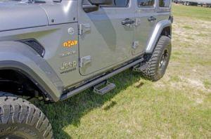 N-Fab RKR Step System In Textured Black For 2018 Jeep Wrangler JL Unlimited 4 Door Models J184RKRS4
