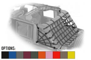 Dirtydog 4X4 Rear Cargo Area Spider Style Netting For 2007-18 Jeep Wrangler JK Unlimited 4 Door Models J4NN07RS-