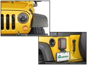 Quadratec Premium LED Projector Headlights & Putco LED Tail Lights for 07-18 Jeep Wrangler JK, JKU 97109P-