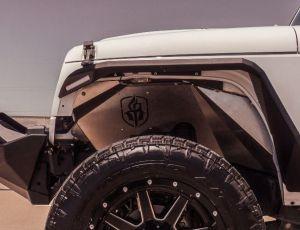 Road Armor Stealth Body Armor Inner Front Fender Liners for 07-18 Jeep Wrangler JK - Bare Stainless Steel 507LFF0Z