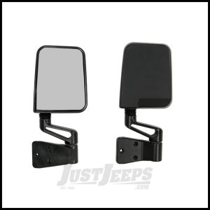 Rugged Ridge Side Mirror Kit in Black For 1987-02 Jeep Wrangler YJ & TJ Models With Factory Half Doors & 1994-02 With Full Doors 7694
