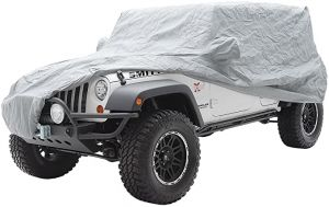 SmittyBilt Complete Jeep Cover With  Storage Bag, Lock & Cable For In Grey 2007-18 Jeep Wrangler JK Unlimited 4 Door 835