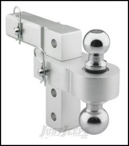 """SmittyBilt Adjustable Aluminum Receiver Hitch Ball Mount With 2"""" & 1-7/8"""" Ball Attached 2925"""