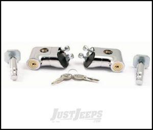 SmittyBilt Locking Hood Catch Kit In Chrome For 1997-06 Jeep Wrangler TJ & TLJ Unlimited Models 7591