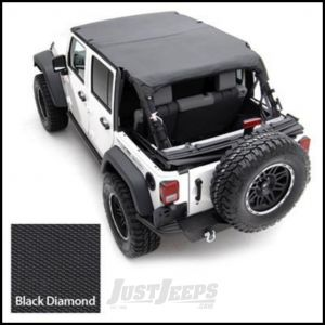 SmittyBilt Strapless Extended Brief Top In Black Diamond For 2007-09 Jeep Wrangler JK Unlimited 4 Door 94535
