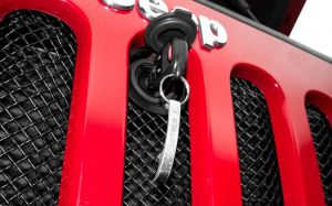 T-Rex Sport Series Formed Mesh Grille with Hood Lock Outlet for 07-18 Jeep Wrangler JK, JKU 46482
