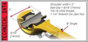 TeraFlex Front Upper Offset Long Adjustable FlexArm Joint With Right Hand Thread For 2007-18 Jeep Wrangler JK 2 Door & Unlimited 4 Door Models 4117220