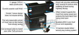 Tuffy Products Hook Lock For 2007-18 Jeep Wrangler JK 2 Door & Unlimited 4 Door Models 292-01