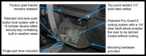 Tuffy Products Security Locking Glove Box In Medium Khaki For 2007-18 Jeep Wrangler JK 2 Door & Unlimited 4 Door Models 149-11