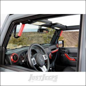 Welcome Distributing Front GraBars Pair In Black Steel with Red Rubber Grips For 2007-18 Jeep Wrangler JK 2 Door & Unlimited 4 Door Models 1001R