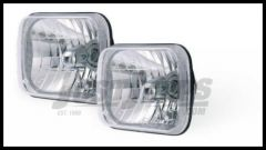 Rampage Headlight Conversion Kit Pair H4 With Cast Housing & Clear Glass Lens 200mm Rectangular For 1987-95 Jeep Wrangler YJ & 1984-01 Cherokee XJ (H4 55/60W Bulb Included) 5089927