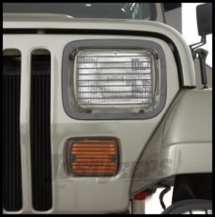 Rampage Front Light Stoneguard Set Billet Style Stainless Steel For 1997-06 Jeep Wrangler Polished Finish 7427