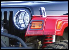Rampage Euro Headlight Guards in Black Powder Coated Steel For 1987-95 Jeep Wrangler YJ 4pc Kit 5659
