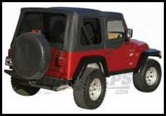 Rampage Soft Top OEM Replacement Skin & Windows With Upper Door Skins Black Diamond With Tinted Windows For 1997-06 Jeep Wrangler TJ 99535