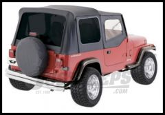Rampage Soft Top OEM Replacement Skin & Windows With Upper Door Skins Denim Black With Tinted Windows For 1987-95 Jeep Wrangler YJ 99415
