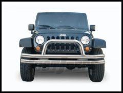 Rampage Front Double Tube Bumper With Hoop Stainless Steel For 2007-18 Jeep Wrangler JK 2 Door & Unlimited 4 Door 86420