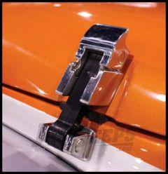 Rampage Hood Catch Rock Runner Cast Stainless Steel For 2007-18 Jeep Wrangler JK 2 Door & Unlimited 4 Door (Pair) 74335