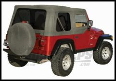 Rampage Complete Soft Top Kit With Tinted Rear Windows In Gray Denim For 1987-95 Jeep Wrangler YJ With Soft Upper Half Doors 68211