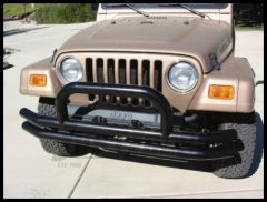 Rampage Front Double Tube Bumper With Hoop Black For 1976-06 Jeep CJ Series, Wrangler YJ & TJ 8620