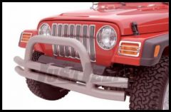 Rampage Front Double Tube Bumper With Hoop Stainless Steel For 1976-06 Jeep CJ Series, Wrangler YJ & TJ 8420