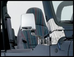 Rampage Half Door Side Mirrors Chrome For 1987-91 Jeep Wrangler YJ With Half Steel Doors & 1992-02 Wrangler YJ & TJ With Full or Half Steel Doors 7504