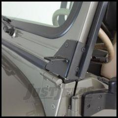 Rampage Windshield Hinge Light Brackets Stainless Steel Pair For 1976-95 Jeep CJ Series & Wrangler YJ 7489