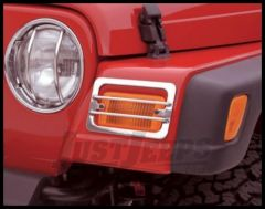 Rampage Euro Headlight Guards in Stainless Steel For 1987-95 Jeep Wrangler YJ 4pc Kit 5459