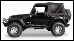 Rampage Soft Top OEM Replacement Skin & Windows Fits Full Steel Doors Denim Black With Tinted Windows For 1997-06 Jeep Wrangler TJ 99315