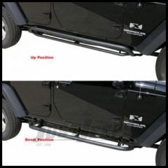 Rampage SRS Side Bar With Retractable Rocker Guard Step Textured Finish For 2007-18 Jeep Wrangler JK 2 Door Models 88632