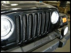 Rampage 3D Grille Insert Single Piece Formed Steel Gloss Black Powder Coat For 1997-06 Jeep Wrangler TJ 86514