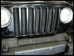 Rampage 3D Grille Insert Single Piece Formed Steel (dual color) Gloss Black With Clear Coat Polished Highlights For 1997-06 Jeep Wrangler TJ 86515