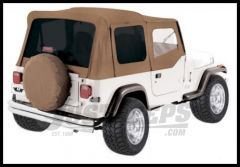 Rampage Soft Top OEM Replacement Skin & Windows With Upper Door Skins Spice Denim With Tinted Windows For 1987-95 Jeep Wrangler YJ 99417
