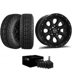 "Just Jeeps 17"" Epic Wheels Moonsault Package in Black 285/70R17 For Jeep JK, JL & JT MOONBL"
