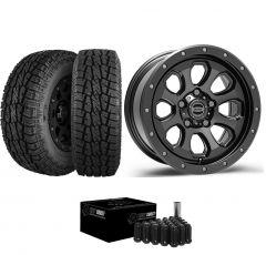 """Just Jeeps 17"""" Epic Wheels Moonsault Package in Gunmetal 285/70R17 For Jeep JK, JL & JT MOONGM"""