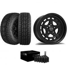 """Just Jeeps 17"""" Epic Wheels Diamond Cutter Package in Black 285/70R17 For Jeep JK, JL & JT DIAMONDBL"""