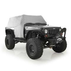 SmittyBilt Water Resist Cab Covers With Door Flap In Grey For 2007-18 Jeep Wrangler JK 2 Door 1068