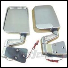 Rugged Ridge LED Mirror Kit Chrome For 1988-02 Wrangler with Half or Full doors 11016.01