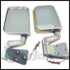 Rugged Ridge LED Mirror Kit Chrome For 1988-02 Wrangler with Half or Full doors 11016.01